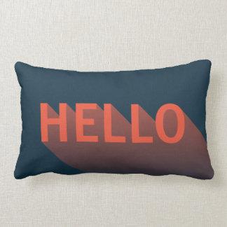 Modern Dark Blue and Orange Hello Typography Lumbar Pillow