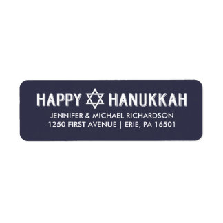 Modern Dark Blue and White Happy Hanukkah Return Address Label