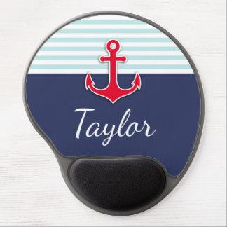 Modern Dark Blue Nautical Design Custom Name Gel Mouse Pad