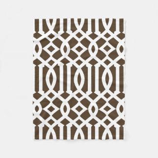 Modern Dark Brown and White Trellis Pattern Fleece Blanket