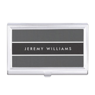Modern dark gray and black masculine personalized business card holder