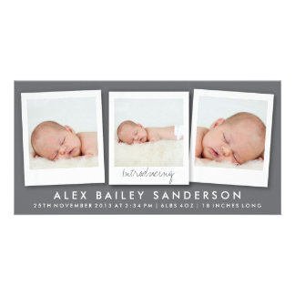 Modern Dark Gray Birth Announcement with 3 Photos Customized Photo Card