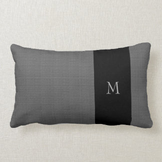 Modern dark gray burlap black pattern monogram lumbar pillow