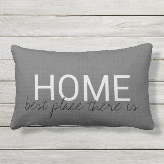 Modern dark gray burlap HOME best place there is Outdoor Pillow