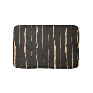 Modern Dark Gray & Rose-gold Stripes Pattern Bathroom Mat