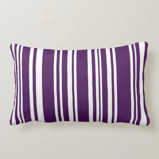 Modern Dark Purple and White Stripes Throw Pillow