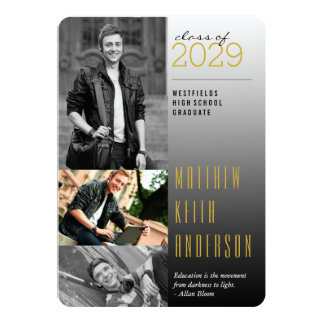 Modern Dark To Light Graduation Photo Announcement