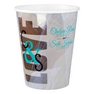 Modern Day Love Wedding / Anniversary - Turquoise Paper Cup
