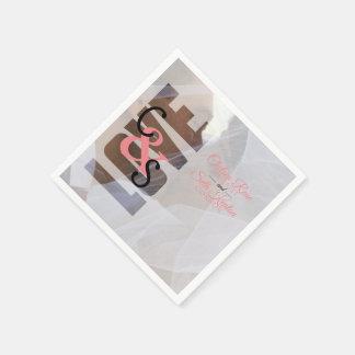 Modern Day Love Wedding - Coral Napkin
