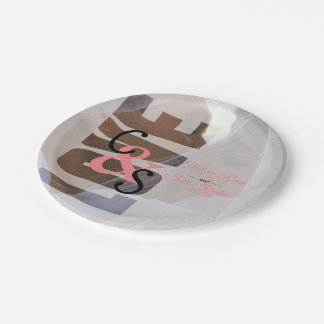 Modern Day Love Wedding - Coral Paper Plate