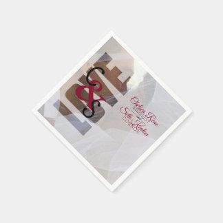 Modern Day Love Wedding - Red Maroon Paper Napkin