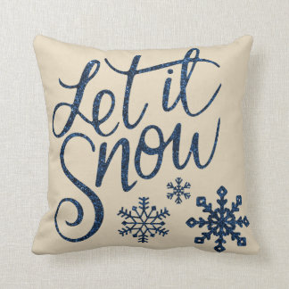 Modern Decorative Let it Snow Crystal Snowflake Throw Pillow