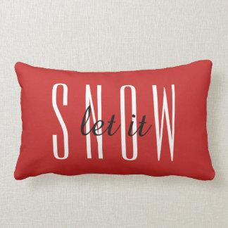 Modern Decorative Let it Snow Typography Lumbar Pillow