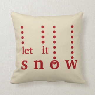 Modern Decorative Let it Snow Typography Throw Pillow