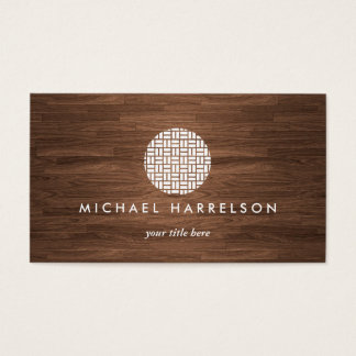 Modern Decorative Logo on Warm Woodgrain Business Card