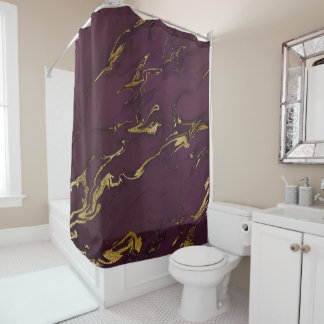 Modern Deep Purple and Gold Marble