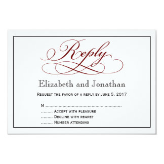 Modern Deep Red Script Wedding Reply Card