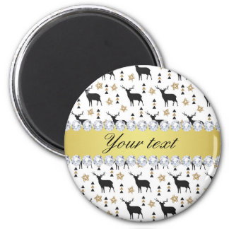 Modern Deer Pattern and Diamonds 2 Inch Round Magnet