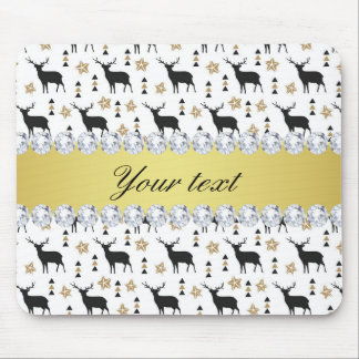 Modern Deer Pattern and Diamonds Mouse Pad