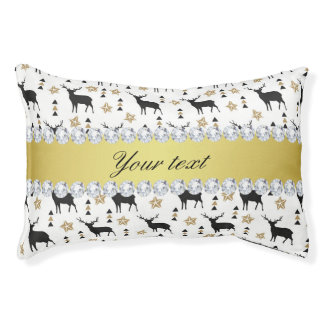 Modern Deer Pattern and Diamonds Pet Bed