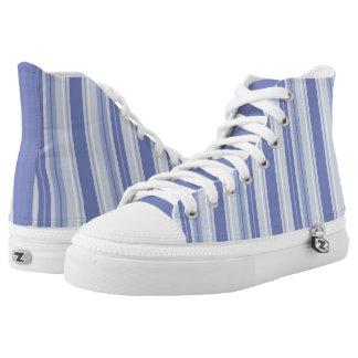 Modern Denim Blue Striped High Tops