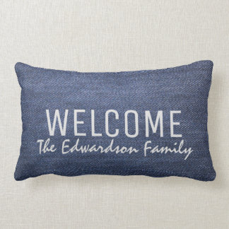 Modern denim jeans blue Welcome Family monogram Lumbar Pillow