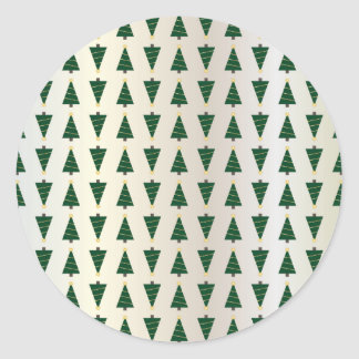 Modern Design Bright Christmas Trees in Soft Gold Round Sticker