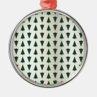 Modern Design Bright Christmas Trees in Soft Gold Silver-Colored Round Ornament