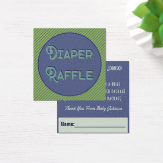 Modern Design Diaper Raffle For Baby Shower Square Business Card