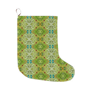 Modern Design Green Red Teal Christmas Stocking