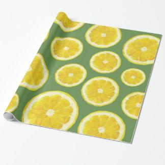 Modern design lemon slice in green background wrapping paper
