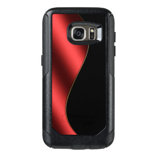 Modern Design Red Gold Black Gloss Metal Textured OtterBox Samsung Galaxy S7 Case