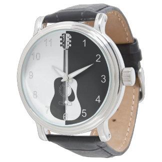 Modern designer black and white guitar watch
