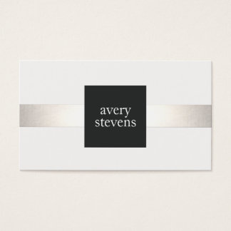 Modern Designer Silver Striped Black and White Business Card