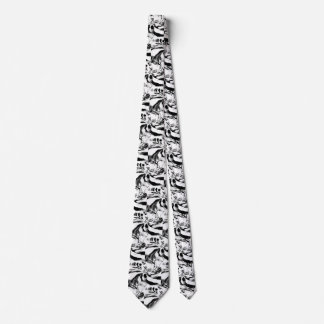 Modern designer tie black and white swirls