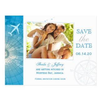 Modern Destination Photo Wedding Save the Date Postcard