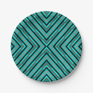 Modern Diagonal Checkered Shades of Green Pattern 7 Inch Paper Plate