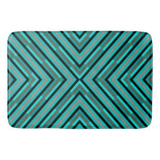 Modern Diagonal Checkered Shades of Green Pattern Bathroom Mat