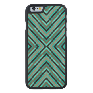 Modern Diagonal Checkered Shades of Green Pattern Carved Maple iPhone 6 Case