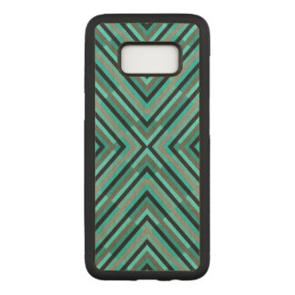 Modern Diagonal Checkered Shades of Green Pattern Carved Samsung Galaxy S8 Case