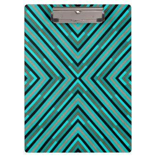 Modern Diagonal Checkered Shades of Green Pattern Clipboard