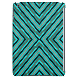 Modern Diagonal Checkered Shades of Green Pattern iPad Air Covers