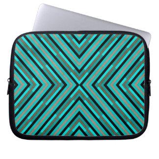 Modern Diagonal Checkered Shades of Green Pattern Laptop Sleeves