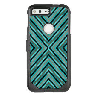 Modern Diagonal Checkered Shades of Green Pattern OtterBox Commuter Google Pixel Case