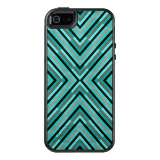 Modern Diagonal Checkered Shades of Green Pattern OtterBox iPhone 5/5s/SE Case
