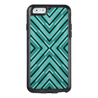 Modern Diagonal Checkered Shades of Green Pattern OtterBox iPhone 6/6s Case