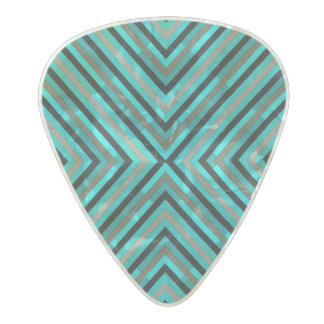 Modern Diagonal Checkered Shades of Green Pattern Pearl Celluloid Guitar Pick