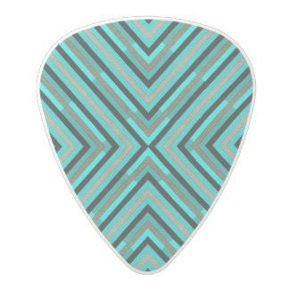 Modern Diagonal Checkered Shades of Green Pattern Polycarbonate Guitar Pick