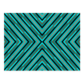 Modern Diagonal Checkered Shades of Green Pattern Postcard