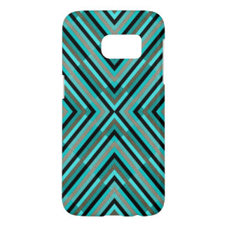 Modern Diagonal Checkered Shades of Green Pattern Samsung Galaxy S7 Case